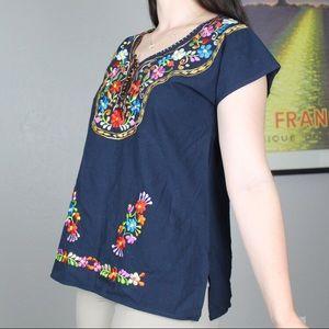 Vintage Tops - Navy blue floral embroidered blouse🌞